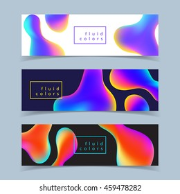 Fluid colors banners set. Modern abstract design. Eps10 vector illustration.