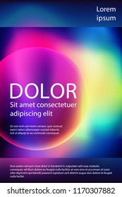 Fluid colors liquid gradient music poster modern template design. Circle shape gradient frame, fluid liquid rainbow neon colors digital background. Party poster or flyer futuristic cover layout.