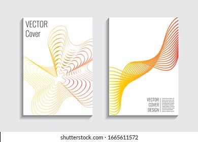 Fluid dynamic template.  Web desing background. Creative graphic elements. Yellow red airy lines. Trendy gradient background. Minimal geometric cover. 3d futuristic concept. Vector digital graphic.