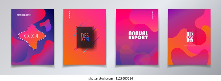 Fluid gradient color abstract brochure cover set. Colorful dynamic floating bubbles shapes, hipster style. Trendy minimal futuristic design. Concept Business, Data analysis process 3d Annual report
