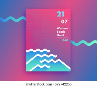 Fluid gradients abstract poster design with waves' shapes, summer and beach party background, modern vector vertical A4 banner