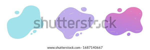 Fluid graphic shape element design vector background or liquid gradient abstract geometric modern splashhalftone wavy set for text copy space, idea of curvy backdrop for flyer or brochure