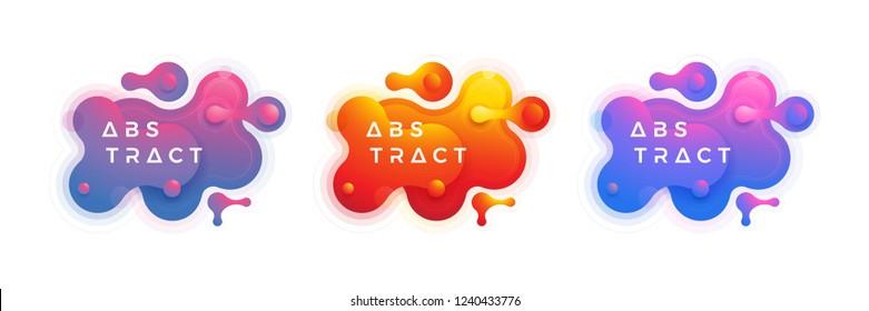 Fluid, liquid design collection. Trendy liquid gradient design elements. Abstract liquid background