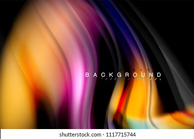 Fluid liquid glowing colors design, colorful marble or plastic wavy texture background, glowing multicolored elements on black, for business or technology presentation or web brochure cover design
