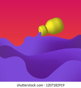The the fluid mixture swirling out of the bottle, colorful illustration with violet waves on red and pink background