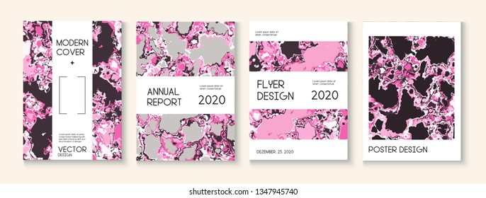 Fluid Paint, Clay Texture Vector Cover Layout. Pink Rose Japanese Cosmetics Design. Scientific Journal, Ad Annual Report Template. Funky Earth Day Ecology Poster. Fluid Paint Clay Texture Cover
