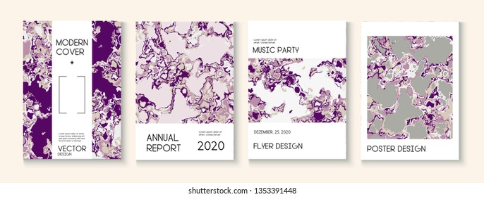 Fluid Paint, Clay Texture Vector Cover Layout. Music Poster, Trendy Magazine Template. Pink Rose Japanese Cosmetics Design. Vintage Earth Day Ecology Poster. Fluid Paint Clay Texture Cover