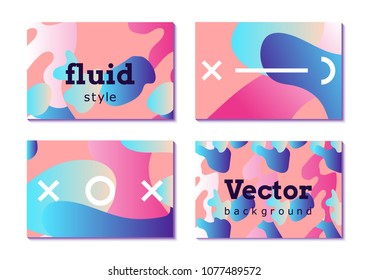 Fluid. Set of colorful abstract vector backgrounds with organic gradient shapes.