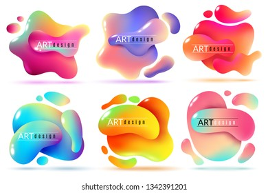 Fluid shape banners. Liquid shapes abstract color flux elements paint free forms graphic texture modern vector creative sticker set