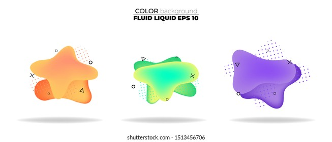 fluid shape vector set. gradient liquid with neon colors, item for the design of a logo, flyer, persentation, gift card,  Poster on wall,  landing page, ,coverbook,  banner, social media posted