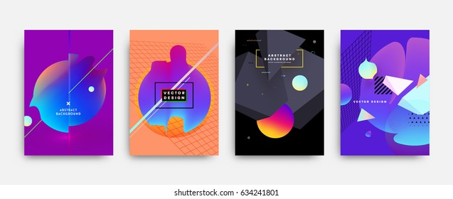 Fluid shapes poster covers set with modern hipster and memphis background colors. Futuristic composition. Eps10 vector templates for placards, banners, flyers, presentations and annual reports.