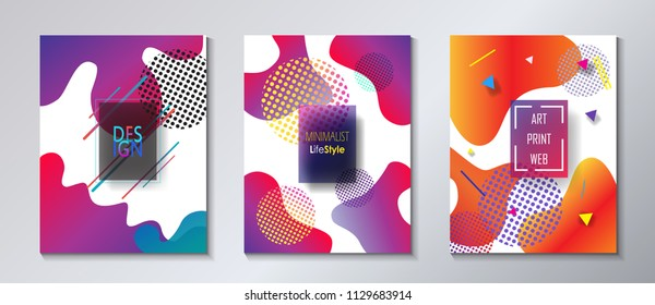 Fluid vibrant gradient color abstract covers set. Colorful dynamic floating bubbles shapes, hipster style. Trendy minimal futuristic design. Concept Business, Summer, Music Festival 3d Surreal Pop Art