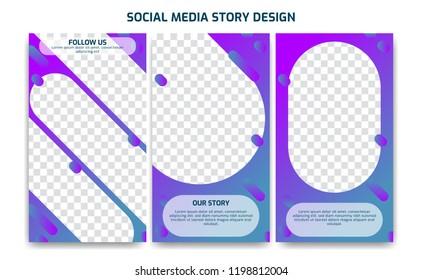 Fluid Violet blue gradient Instagram social media story frame photo template design set