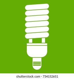 Fluorescent bulb icon white isolated on green background. Vector illustration