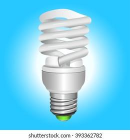 Fluorescent energy saving light bulb. Vector Illustration.