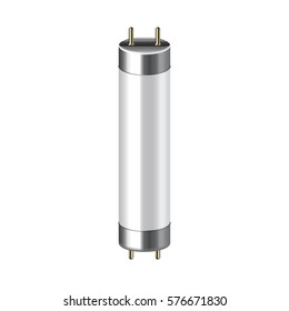 Fluorescent lamp isolated on white photo-realistic vector illustration