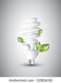 Fluorescent light bulb with growing plants, EPS 10