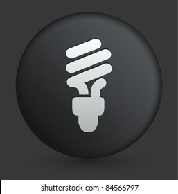 Fluorescent Light Bulb Icon on Round Black Button Collection Original Illustration