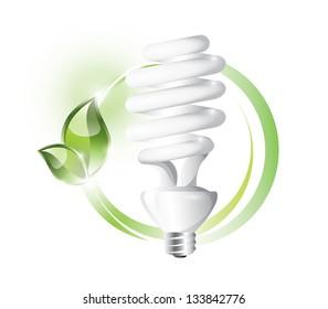 Fluorescent light bulb on circle background, EPS 10, isolated