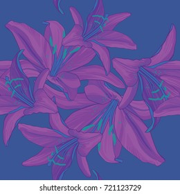 Fluorescent pink and blue lily floral seamless pattern
