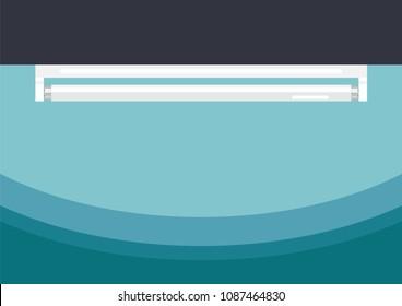 Fluorescent tube lamp flat style. Vector illustration