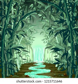 Fluorescent Waterfall on Surreal Bamboo Forest Vector illustration
