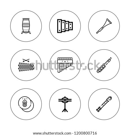 Flute Icon Set Collection 9 Outline Stock Vector Royalty Free
