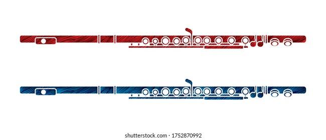 Flute instrument cartoon music graphic vector