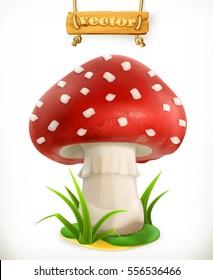 Fly agaric mushroom. 3d vector icon