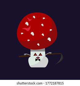 fly agaric mushroom with triangular eyes and a sharp scythe behind the back cartoon character for Halloween object on a dark night background