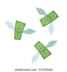 Fly Away dollars. the concept of spending money. flat vector illustration isolate on a white background. easy to use