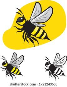 fly bee vector side angle