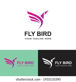 Fly Bird Logo Design Template-hummingbird, Colibri bird logo outline monoline vector icon illustration download.