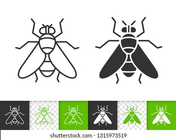 Fly black linear and silhouette icons. Thin line sign of insect. Housefly outline pictogram isolated on white, color, transparent background. Vector Icon shape. Fly simple symbol closeup