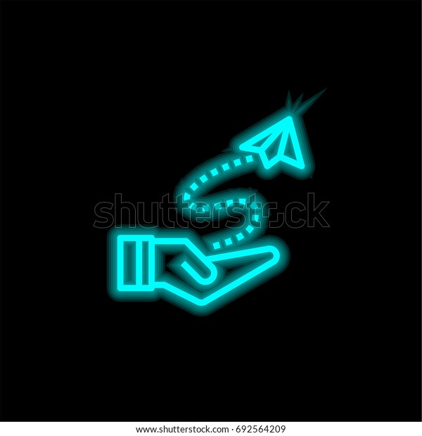 Fly blue glowing neon ui ux icon. Glowing sign logo vector