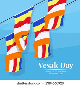 fly the buddhist flag on blue background  in vesak day banner vector design