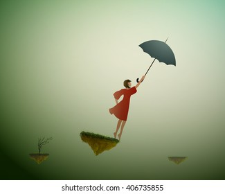 fly in dream, girl holding umbrella and standing on the on flying rock, magic wind,  life on flying rock, gust, silhouette.