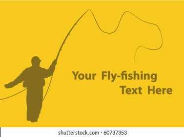 Fly fisherman casting fly fishing line