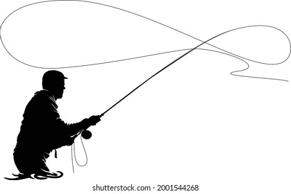 Fly fisherman fishing. clip art black fishing on white background - Vector