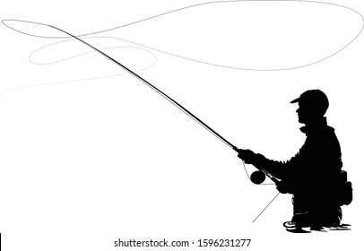 Fly fisherman fishing.clip art black fishing on white background - Vector