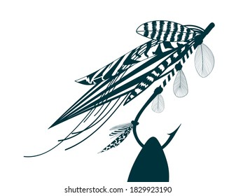 Fly fishing flies made from feathers for Salmon fishing. Hand drawn stock vector illustration.
