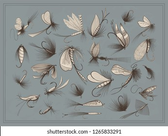 Fly fishing flies - various kinds: wet, dry, sinking, floating, streamers, nymphs and others - big collection of fishing lures - vintage vector illustration isolated on texture background