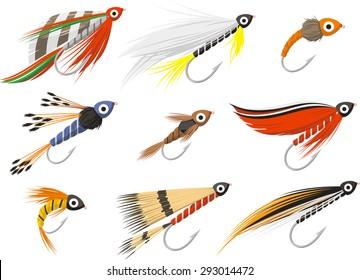 fly fishing flies vector illustration set