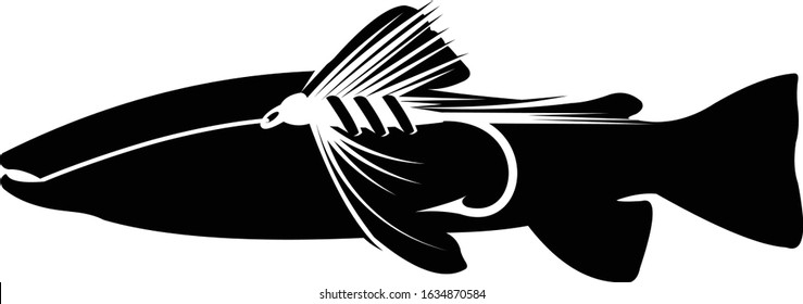 Fly Fishing Logo Template, A unique & Abstract Trout on The flies inside. Great and cool template print for fly fishing Anglers.