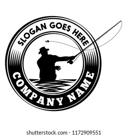 Fly fishing logo. Vector and illustration.