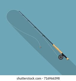 Fly fishing rod vector illustration.