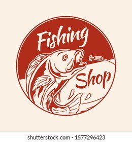 fly fishing shop vintage retro logo badge design. fish jumping for bait hook old style vector illustration