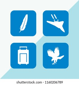 fly icon. 4 fly set with feather, suitcase, hawk and military fast plane vector icons for web and mobile app