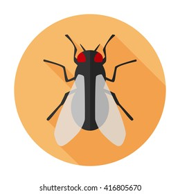 Fly icon flat vector insect sign/symbol/sticker. For mobile user interface