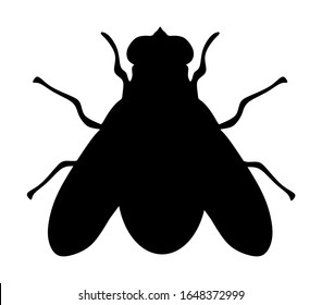 Fly icon silhouette vector illustration isolated on white background. House fly insect.
